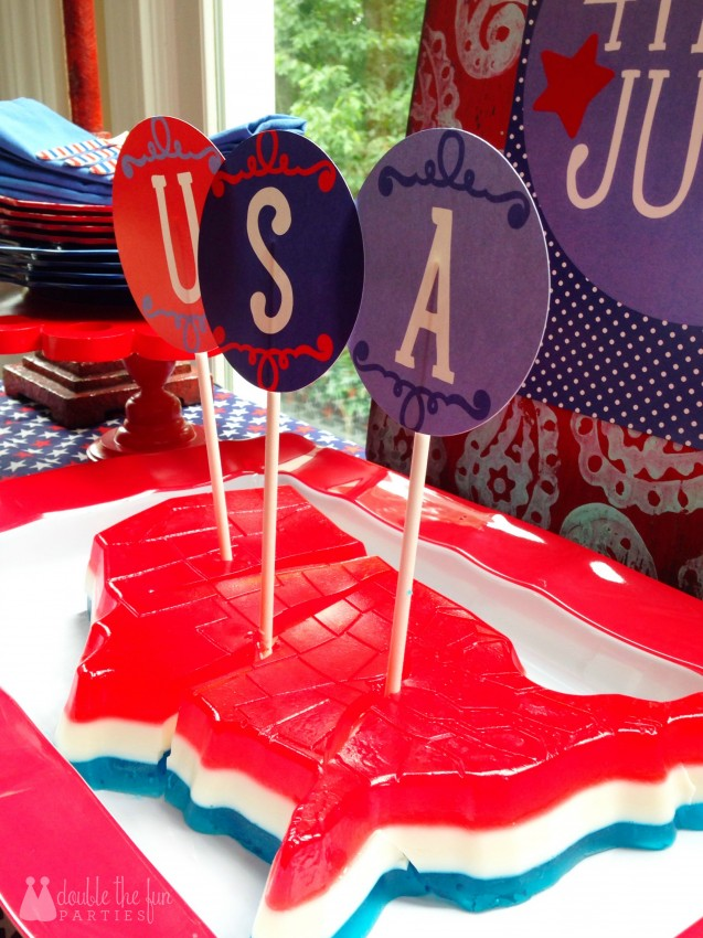 4th of July Party Jell-O Mold of USA by Double the Fun Parties-WM 8