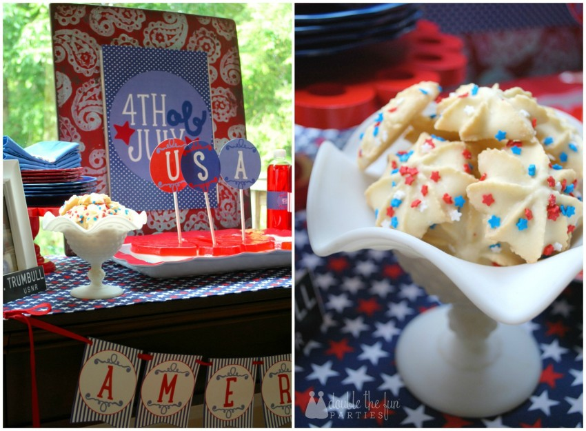 4th of July Party red white and blue dessert table by Double the Fun Parties-WM