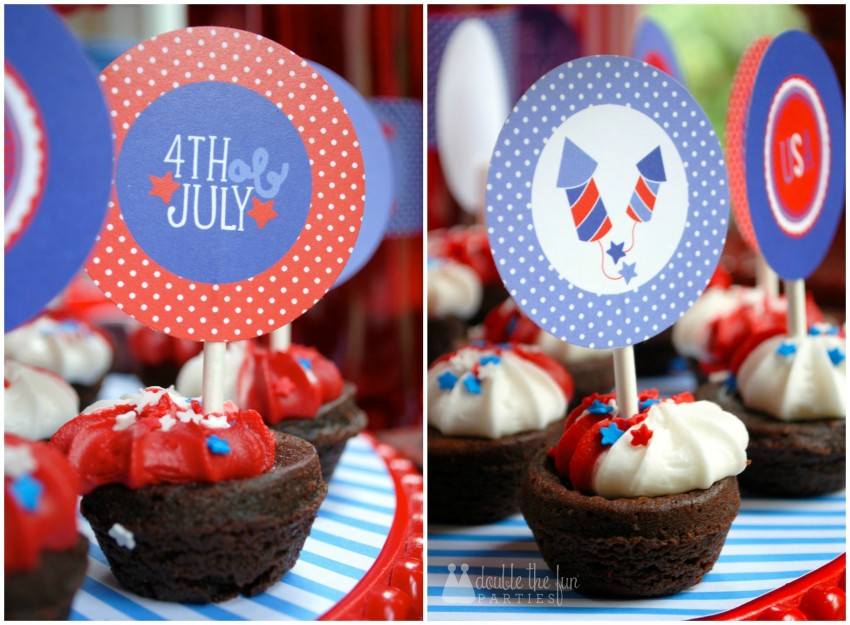 4th of July Party use cupcake toppers on brownie bites by Double the Fun Parties-WM