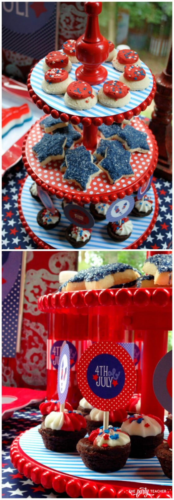Home of the Brave 4th of July Party by The Party Teacher - tiered dessert stand