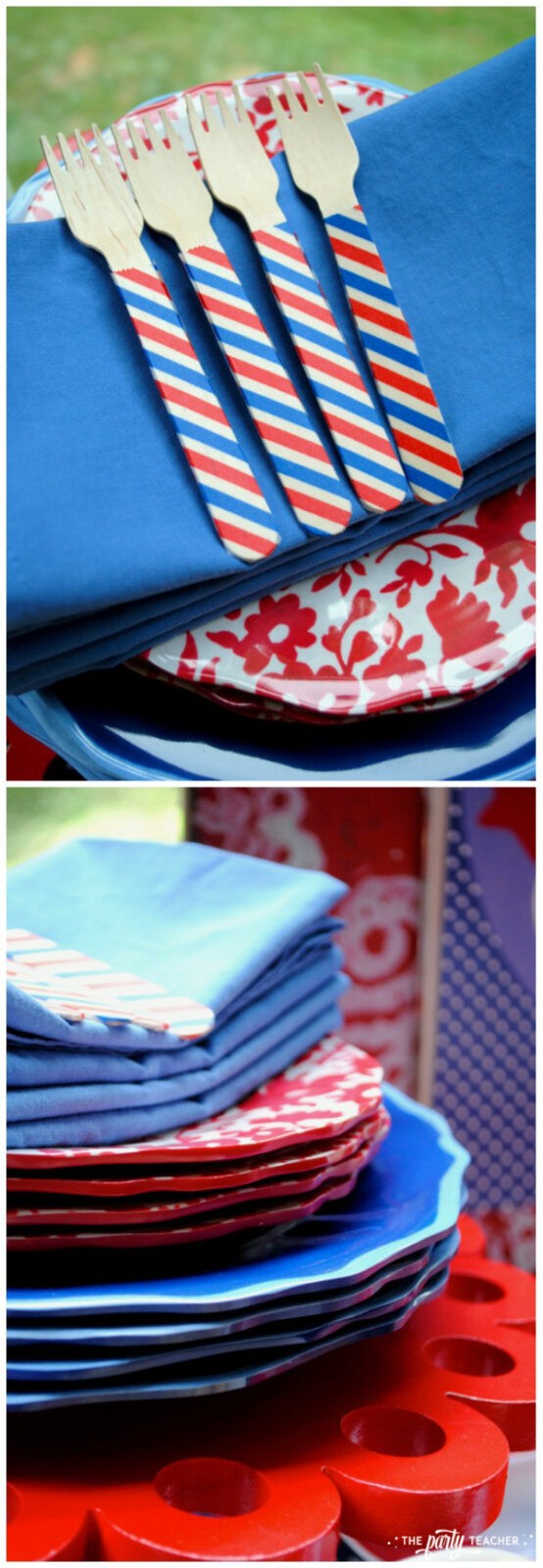 Home of the Brave 4th of July Party by The Party Teacher - washi tape forks