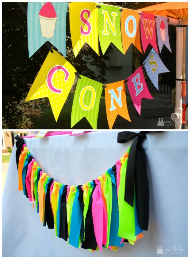Snow Cone Stand neon banners by Double the Fun Parties