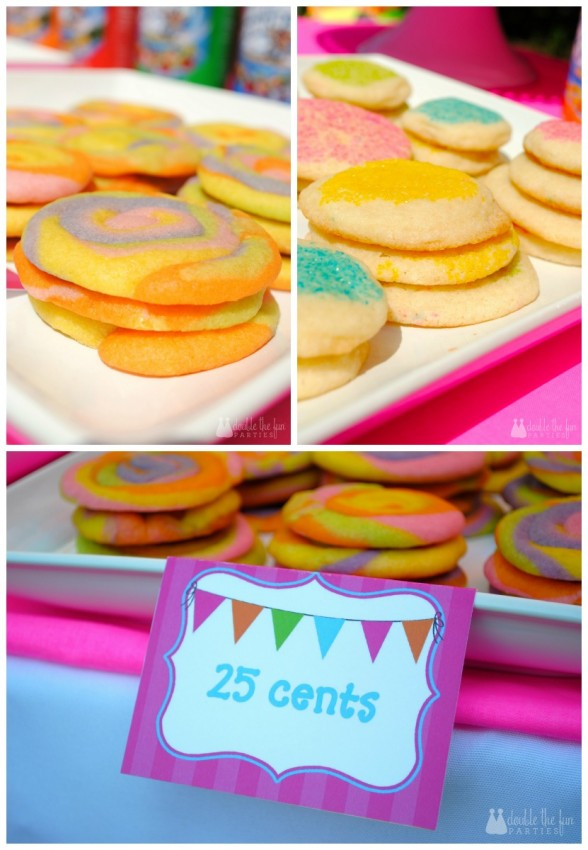 Snow cone stand neon sugar cookies by Double the Fun Parties