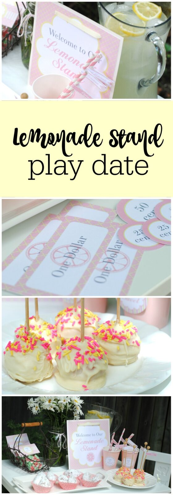 So cute - lemonade stand play date with free printables featured on The Party Teacher