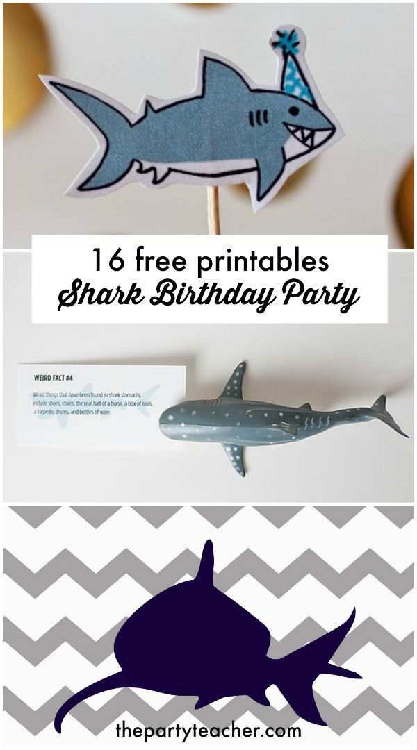 16 free shark party printables curated by The Party Teacher