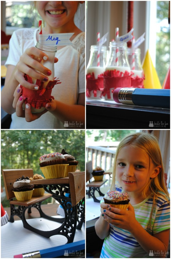 Back to school party cupcakes and milk by Double the Fun Parties