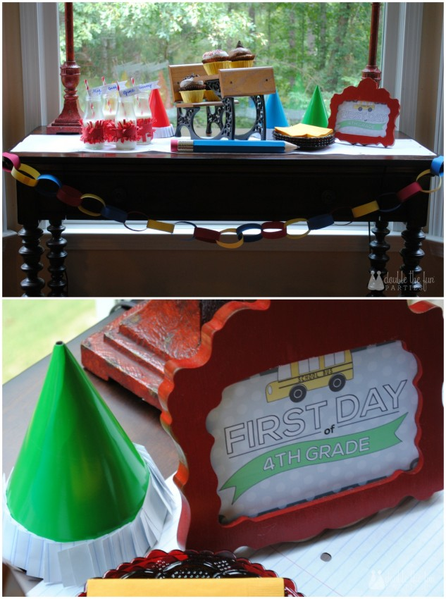 Back to school party decorated wtih school supplies by Double the Fun Parties