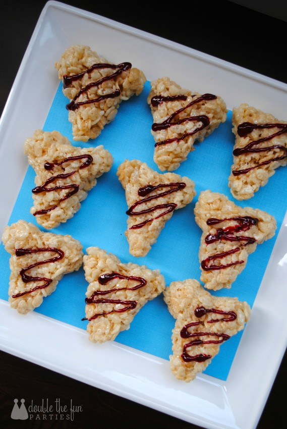 Every shark party needs a bloddy litle treat - Shark Tooth Rice Krispies Treats by Double the Fun Parties