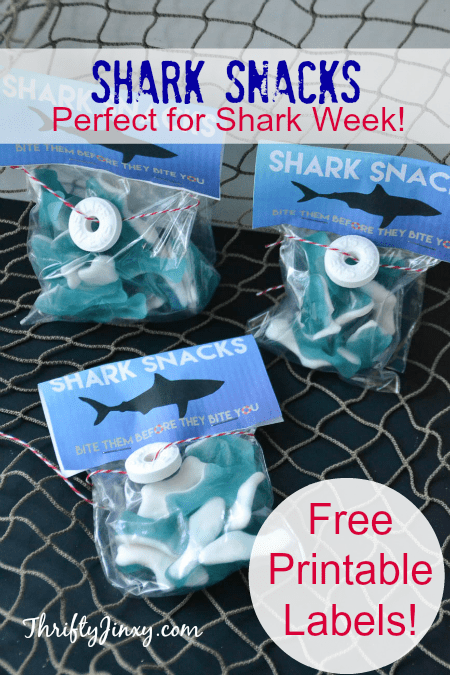 Free printable Shark-Snacks Labels by Thrifty Jinxy