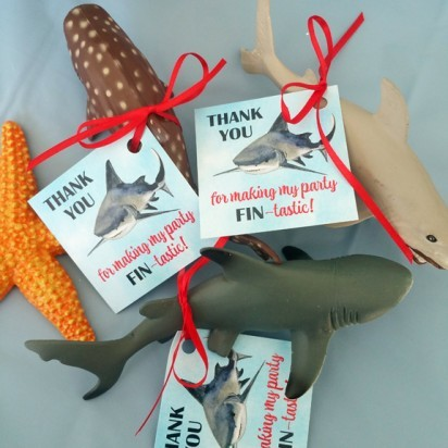 Free printable shark party favor tag by That Party Chick