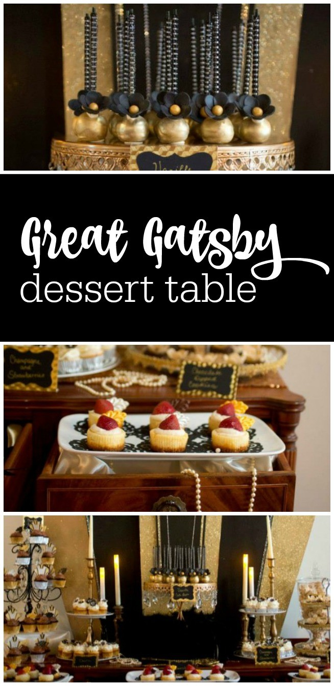 Great Gatsby dessert table with the most amazing black and gold Roaring 20s backdrop featured on The Party Teacher