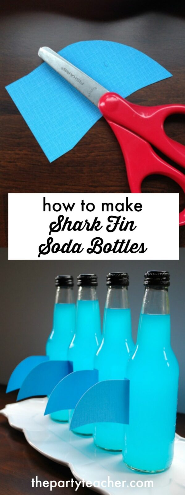 How to make shark fin soda bottles by The Party Teacher