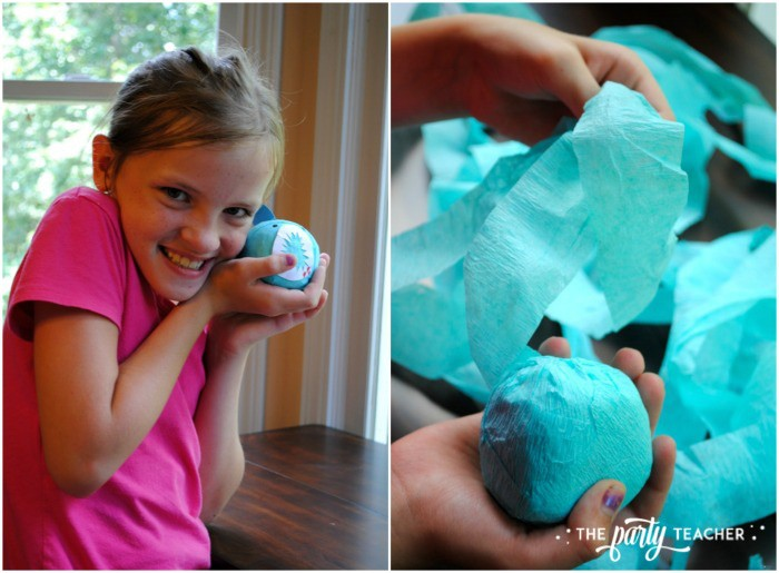 Shark Party Favor Surprise Balls by The Party Teacher - unwrapping