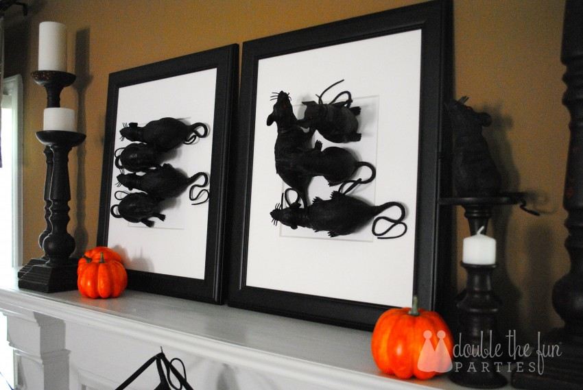 3-D Black Rat Halloween Art by Double the Fun Parties - 0702