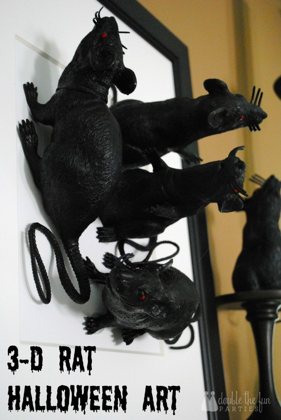 3-D Black Rat Halloween Art by Double the Fun Parties - 0710 title
