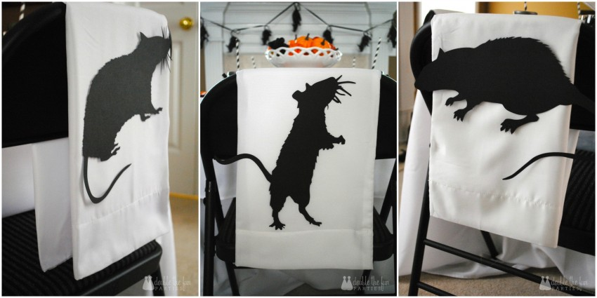 Black Rat Halloween Party by Double the Fun Parties - Rat Chair Backers