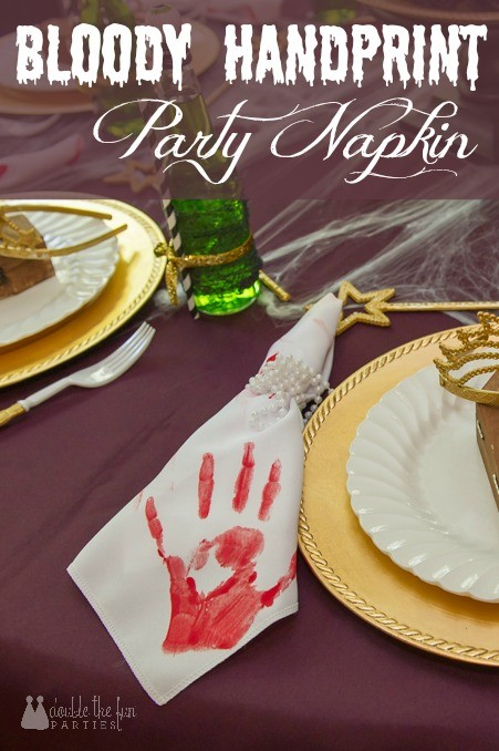 Bloody Handprint Party Napkin Tutorial by Double the Fun Parties