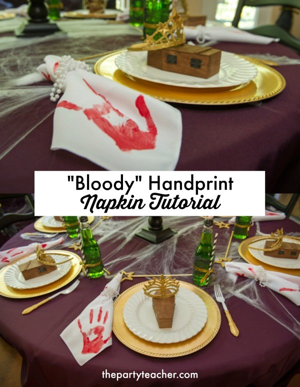 Bloody handprint napkin tutorial by The Party Teacher