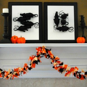 Tutorial: Orange and Black Halloween Fabric Bunting {Just 4 Steps!}
