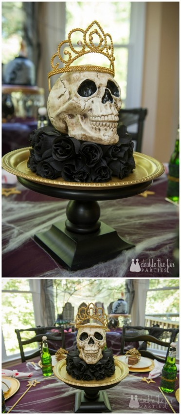 Zombie Princess Party by Double the Fun Parties skull on black roses centerpiece