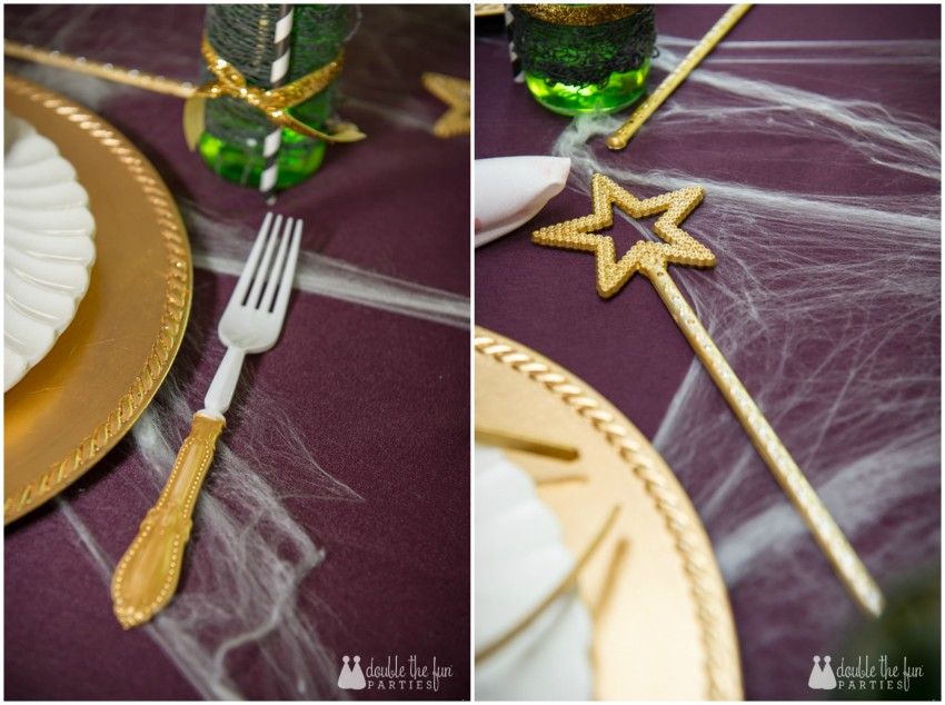 Zombie Princess Party by Double the Fun Parties table setting