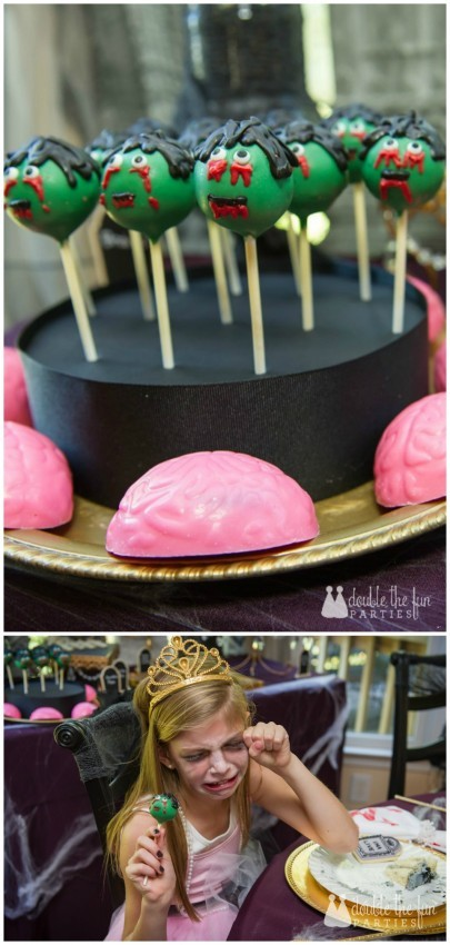 Zombie Princess Party by Double the Fun Parties zombie cake pops and chocolate covered Oreo brains