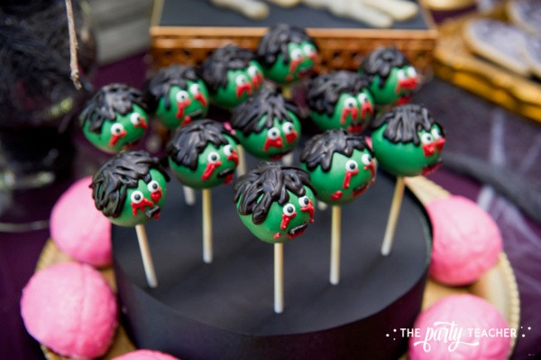 Zombie Princess Party by The Party Teacher - zombie cake pops