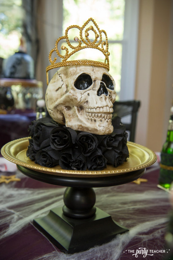 Zombie Princess Party by The Party Teacher - skull centerpiece
