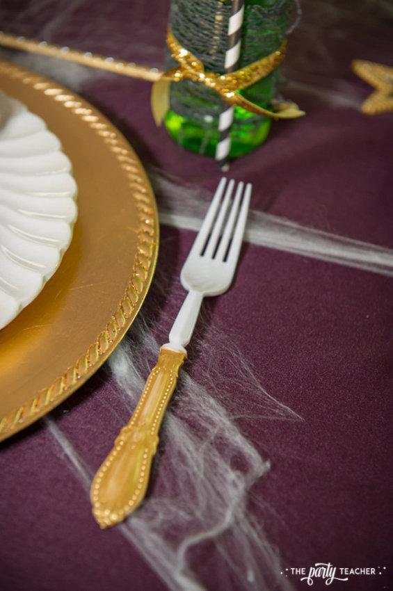 Zombie Princess Party by The Party Teacher - gold painted fork handles