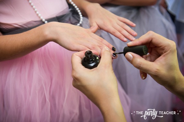 Zombie Princess Party by The Party Teacher - manicures with black polish