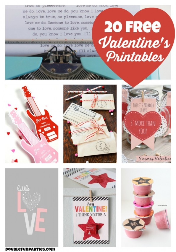 20 free Valentine's Day printables curated by Double the Fun Parties