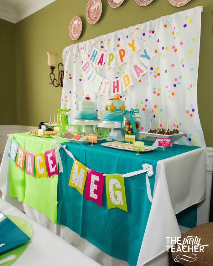 Favorite things birthday party dessert table by The Party Teacher
