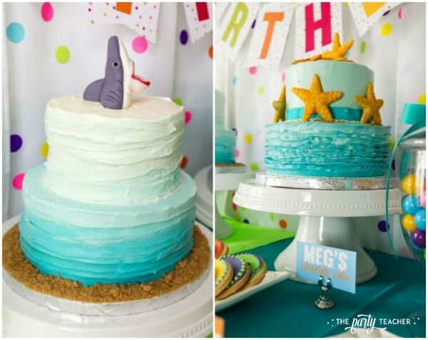 Twins Top 10 Party by The Party Teacher - shark and starfish cakes for twins