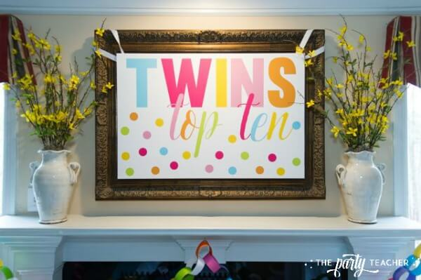 Twins Top 10 Party by The Party Teacher - Twins sign over mantle
