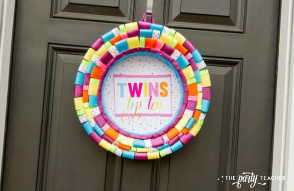 Twins Top Ten Party by The Party Teacher-front door ribbon wreath