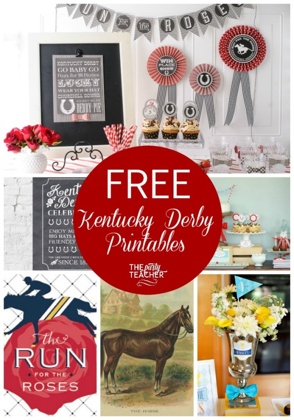 Great collection of FREE Kentucky Derby party printables at The Party Teacher