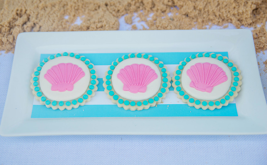 Mermaids Party by Sweet Peach Paperie featured on The Party Teacher - shell cookies