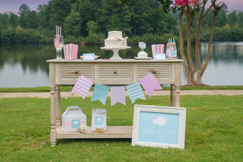 Mermaids Party by Sweet Peach Paperie featured on The Party Teacher - dessert table