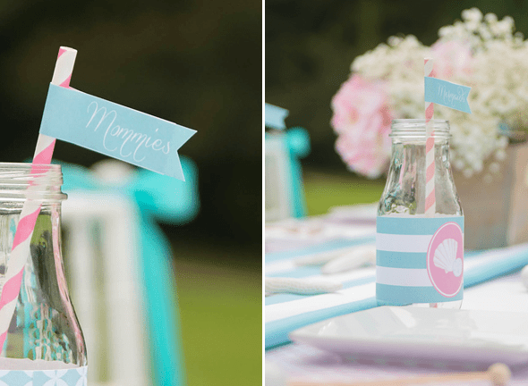 Mermaids Party by Sweet Peach Paperie featured on The Party Teacher - milk bottles, straws and flags