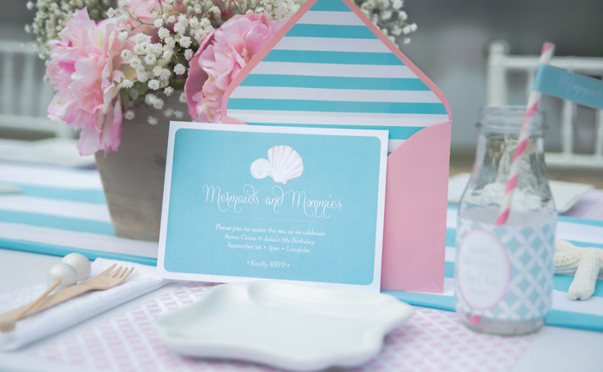 Mermaids Party by Sweet Peach Paperie featured on The Party Teacher - party invitation