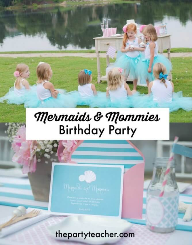Mermaids and Mommies birthday party for twins by Sweet Peach Paperie featured on The Party Teacher