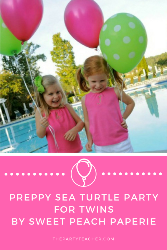 Preppy Sea Turtle Party for Twins by Sweet Peach Paperie featured on The Party Teacher