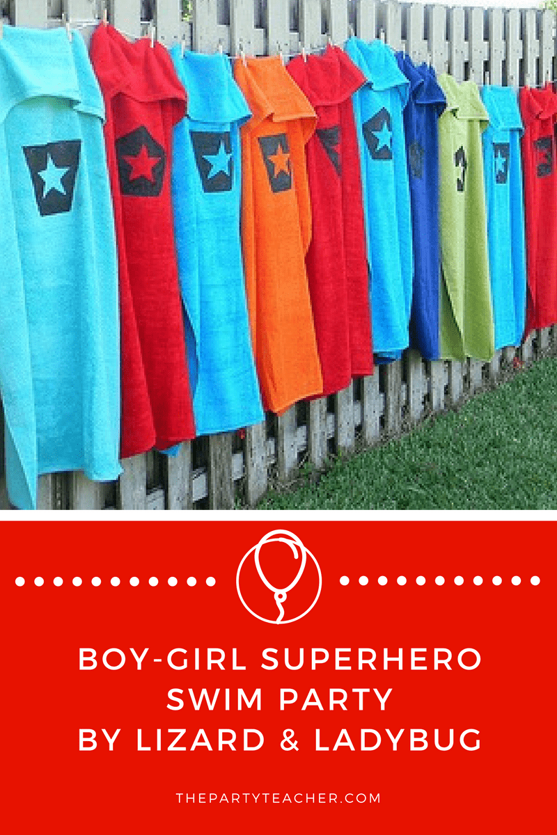 Boy Girl Superhero Swim Party
