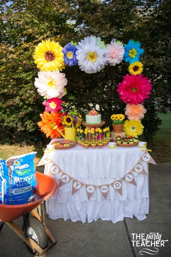 Gardening Party by The Party Teacher - dessert table with wheel barrow of dirt