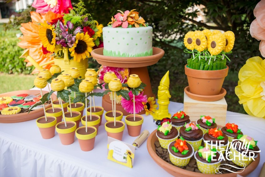 Gardening Party by The Party Teacher - dessert table for terra cotta pots as serving pieces