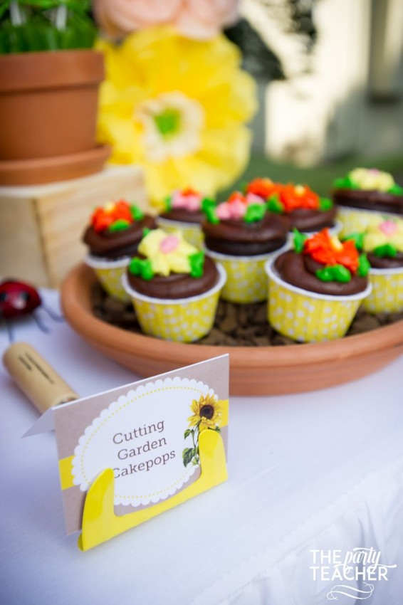 Gardening Party by The Party Teacher - flower cupcakes - trowel used for food labels