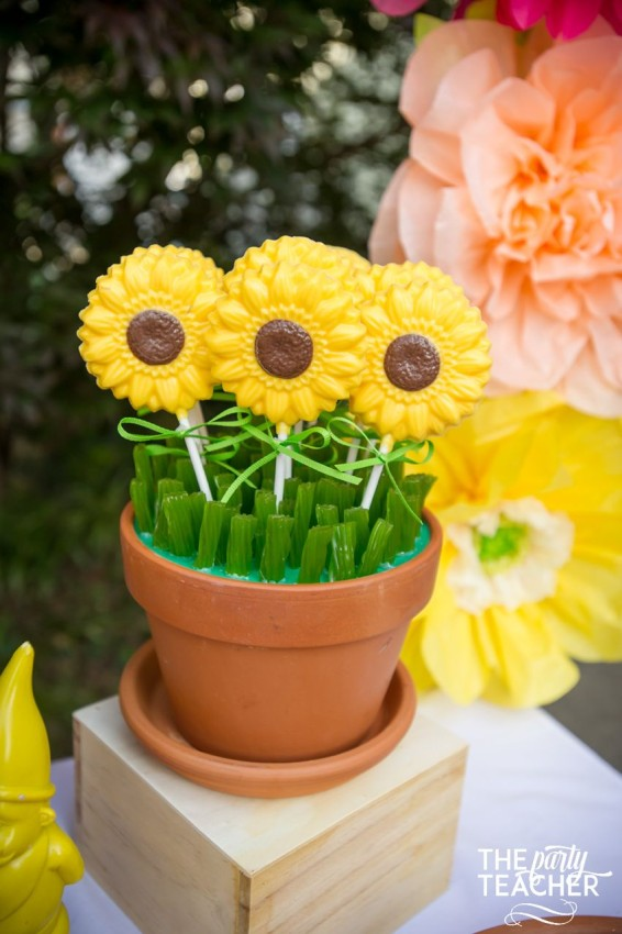 Gardening Party by The Party Teacher - chocolate sunflower lollipops in green licorice grass