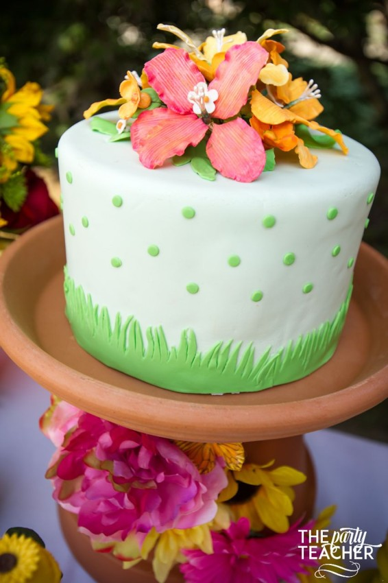 Gardening Party by The Party Teacher - cake with flowers and grass