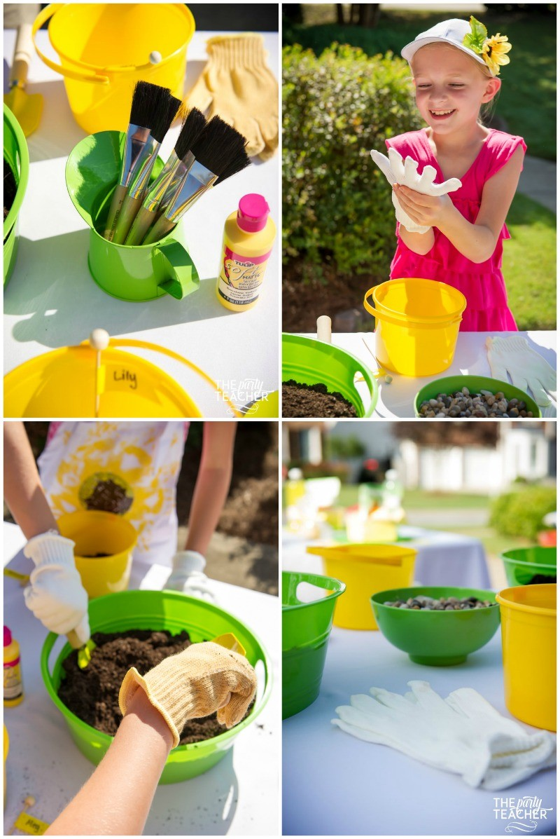 Gardening party activities table by The Party Teacher