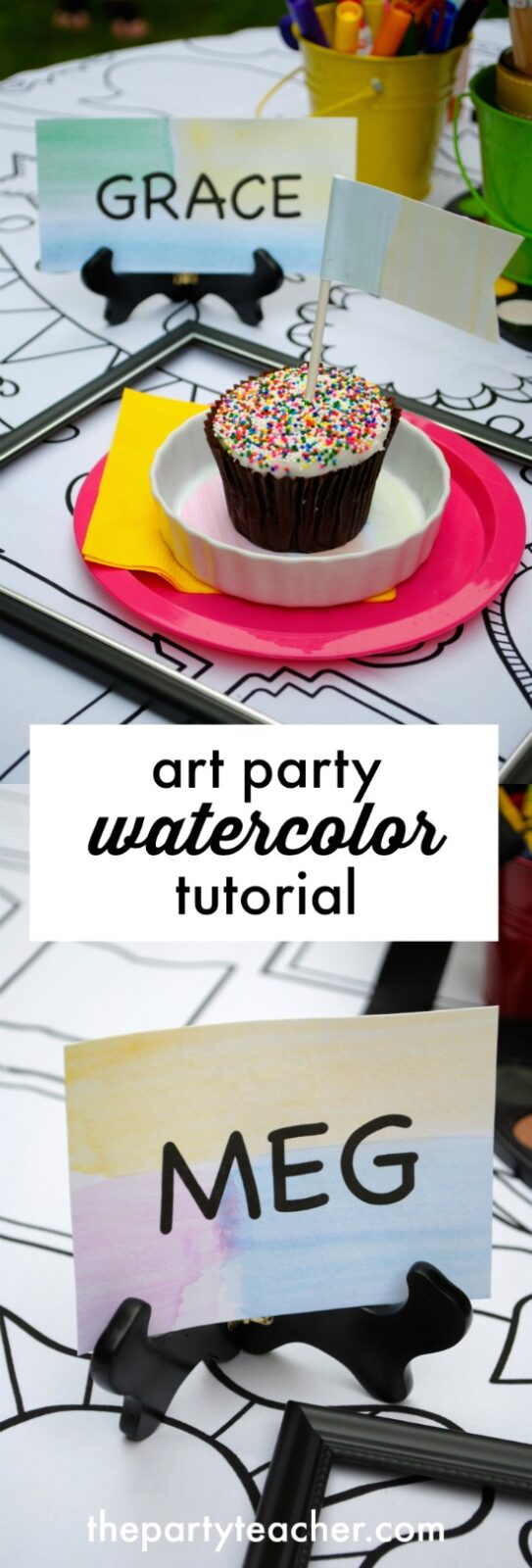 Art party watercolor tutorial by The Party Teacher